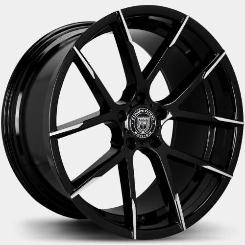 Lexani Stuttgart Wheels Gloss Black with Machined Tips