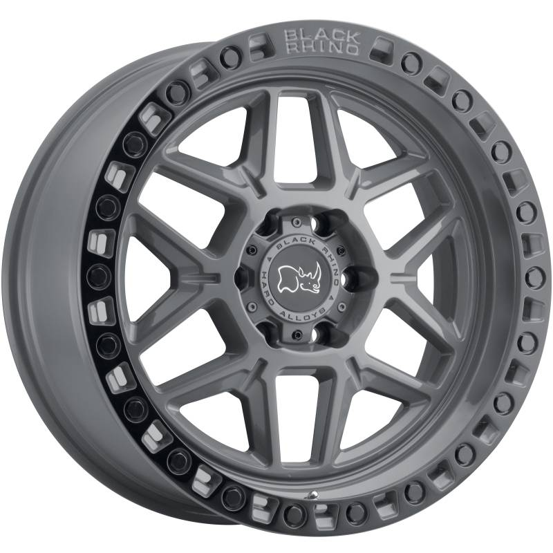 BLACK RHINO KELSO BATTLESHIP GRAY TRUCK WHEELS W/ BLACK LIP AND BOLTS