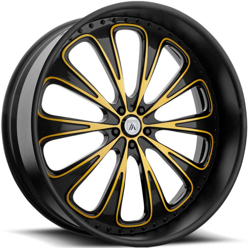 Asanti AF867 Custom Black and Yellow Wheels