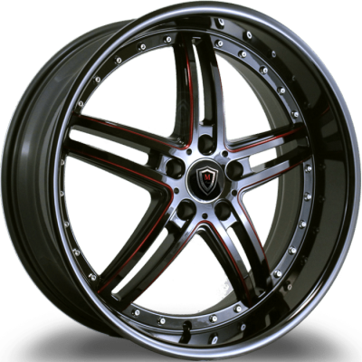 Marquee M.5329 Gloss Black Red Milled Wheels