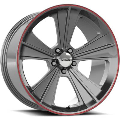 Vision Missle Gunmetal with Red Stripe