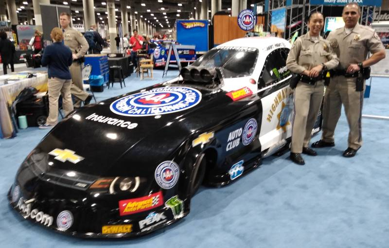 AAA Dragster supported by LAPD Highway Patrol