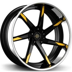 Lexani LC-109 Black with Yellow Tips and Chrome Lip