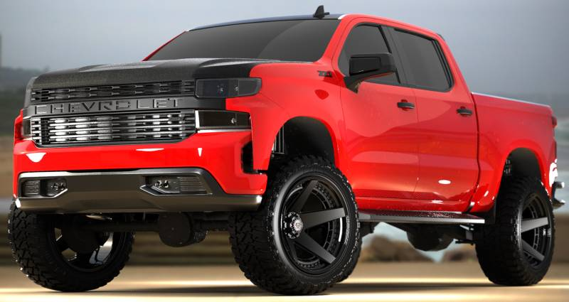2019 Chevrolet Silverado 1500 on 4Play 4PF5 Brushed Black Forged Wheels