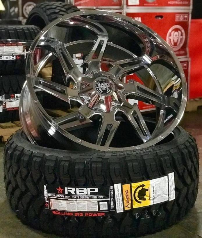 26x12 Hardcore HC05 Chrome Wheels with 35-13.50-26 RBP Tires