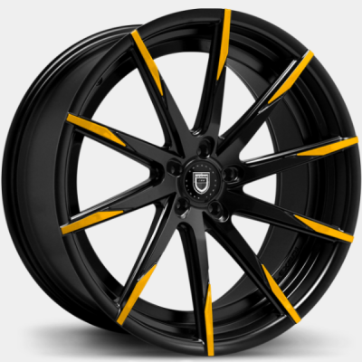 Lexani CSS-15 Gloss Black with Yellow Tips