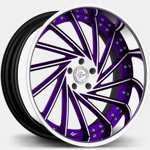 Lexani LF-114 White and Purple with Chrome Lip