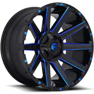 Fuel Contra D644 Gloss Black with Candy Blue Milling