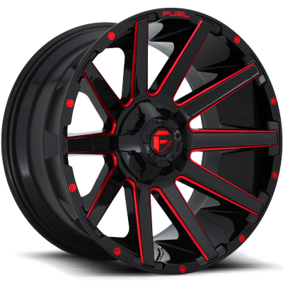 Fuel Contra D643 Gloss Black with Candy Red Milling
