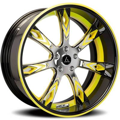 Artis Deco Chrome with Yellow and Black Center, Black Lip with Yellow Stripe