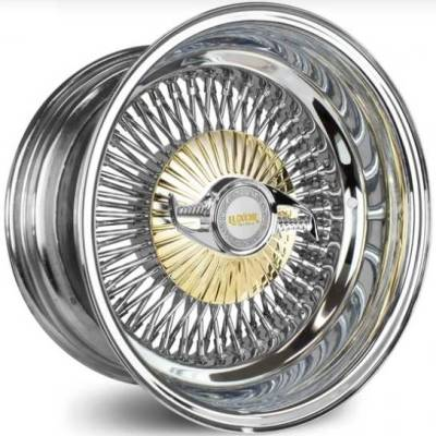 Luxor 80-Spoke Chrome with Gold Cover and Chrome Knock-Off