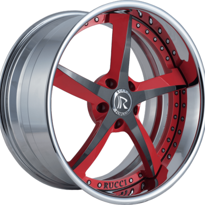 Rucci Swoops Red and Black with Chrome Lip
