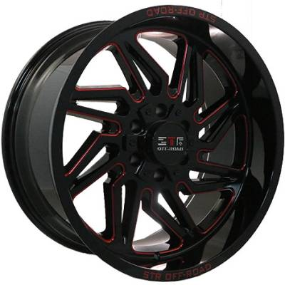 STR 85 Black with Red Milling