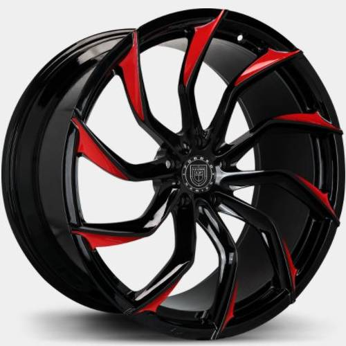 Lexani M753 Monoblock Forged Black with Red Tips